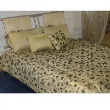 Luxury Black Gold Floral Quilted Bedspread