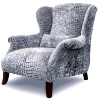 Large Wing Chair in Grey Nabucco Velvet Fabric