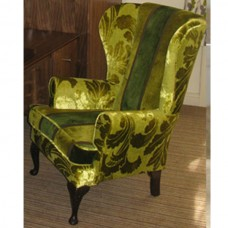 Highback Wing Chairs in Velvet Green Fabric