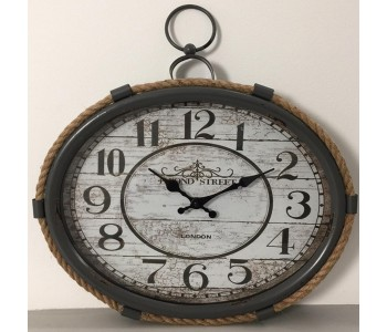 Industrial Style Clock in Wood and Metal With Rope
