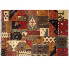 PATCHWORK 135 MULTICOLOURED RED GOLD BLACK WOOL RUG